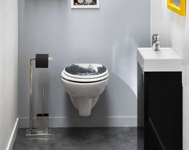 17 best images about toilettes wc on pinterest coins chalets and design - Decoration toilette gris ...