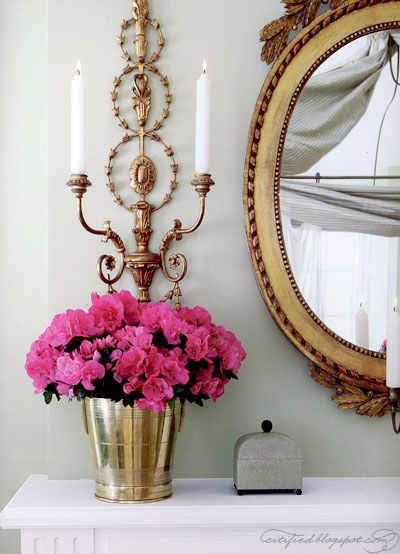 the finest of gold accents looks so good with pink flowers