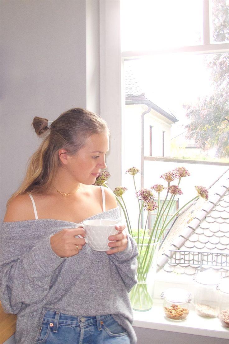 Heartfelt Hunt - Lazy Days - Sweater, top, denim shorts and blond half-up half-down bun - Spring Fashion and Style