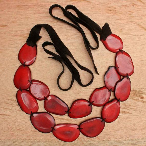 Dark Red Tagua Necklace Statement Necklace by ArtisansintheAndes