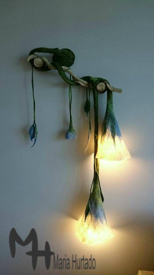 Filzblüten als Lampenschirme