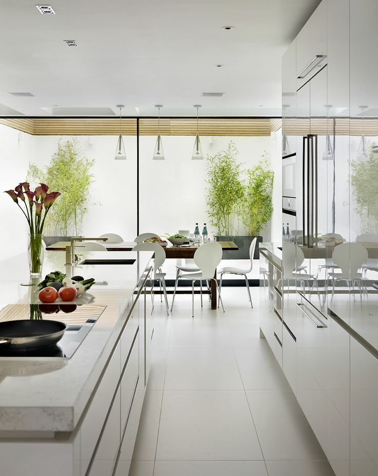 White gloss lacquer Roundhouse bespoke kitchen in contemporary style by Roundhouse