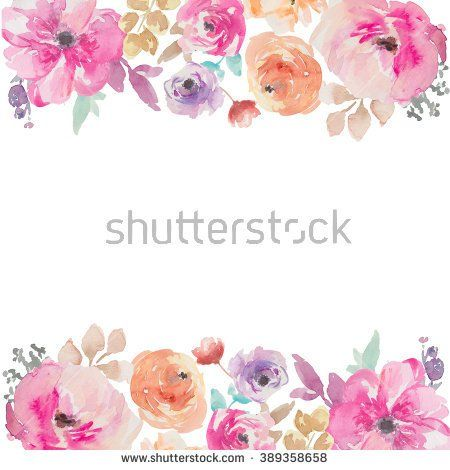 Colorful Watercolor Flower Border. Painted Flower Background. Painted Flower Border. Watercolor Flower Border - stock photo