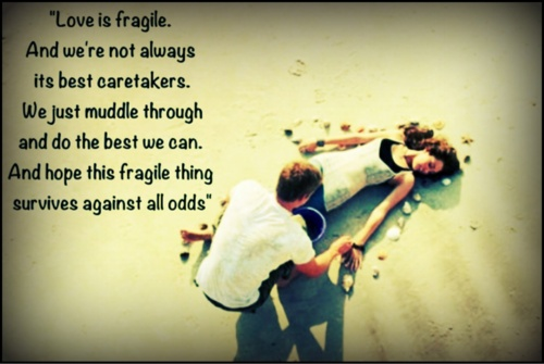 Nicholas Sparks Quote, Love is fragile. And we're not always the best caretakers. We just muddle through and do the best we can and hope this fragile thing survives against all odds. #love quote #the last song quote