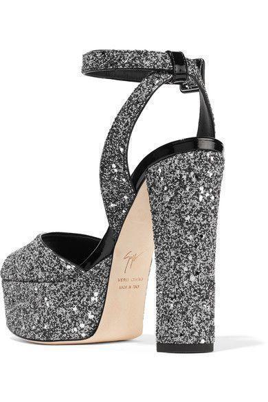 635aa6aeccb8 Giuseppe Zanotti - Betty Glittered Leather Platform Sandals - Silver   giuseppezanottiheelssilver