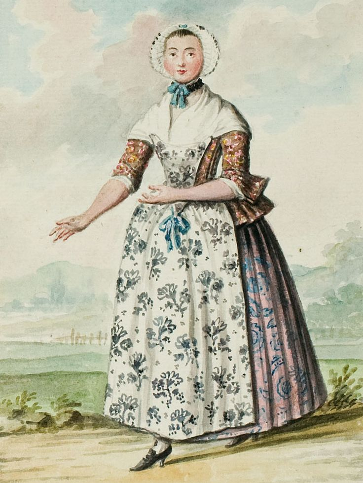 """1770s - 18th century - woman's outfit with mixed print fabrics (jacket, skirt, and apron are each a different floral pattern) - From """"An album containing 90 fine water color paintings of costumes."""" Turin : [s.n.] , [ca.1775]. In the collection of the Bunka Fashion College in Japan."""