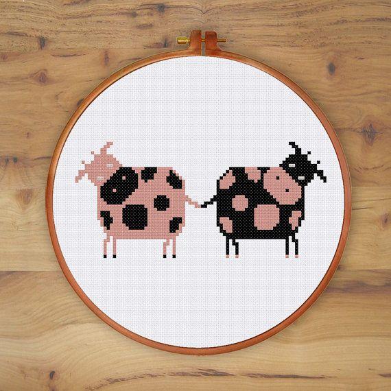 Divertidos vacas divertido patrón de punto de Cruz cruz