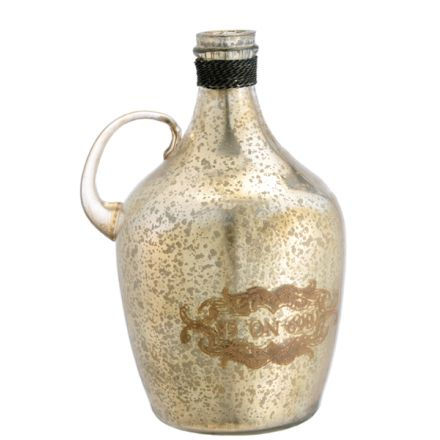 """No. 68 Jug, Antiqued gold & silver glass jug with handle and gold writing.  Dimensions:  6.5"""" L x 5.5"""" W x 9.3"""" H — Passport Goods"""