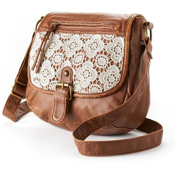 MuddJewel Lace Floral Crossbody Bag (Brown) ($13) ❤ liked on Polyvore featuring bags, handbags, shoulder bags, purses, accessories, bolsas, brown, crossbody handbags, cross body shoulder bags and floral shoulder bag