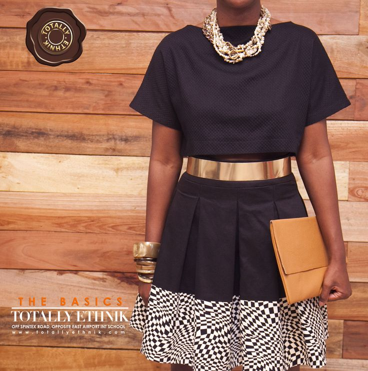 Totally Ethnik Summer Collection 2014, Ensemble with Black Cropped Top and Black and Checkered Skirt.