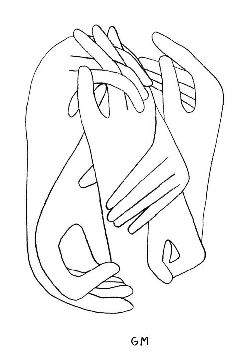 ✖ Geoff McFetridge I like the entanglement of hands, and the simplicity... the artist is not forcing the image to look 3D or to appear 'real', it just looks natural, interesting and fun. A set of lines to follow, all leading into one.