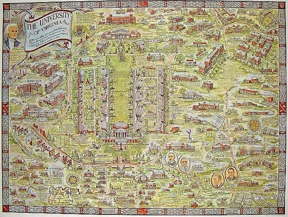 Rare University Of Virginia Pictorial Map Lithographed By Everett - Uva map