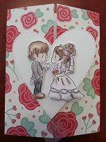 Handmade wedding card by Heidi using Dreamerland Crafts Stamp.