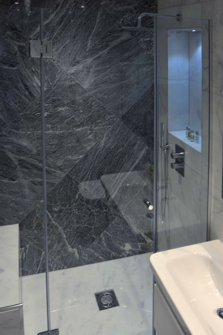 Bespoke Shower Enclosure with Marble Cladded Seat | JHR Interiors