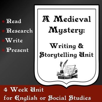 Print and teach! Lessons and writing prompts on PowerPoint included. Build literacy skills across the curriculum with this storytelling unit. Engaging activities offer opportunities for reading, researching, writing, and performing about the Middle Ages. Packets guide students through each step of the writing and storytelling process. This thematic unit lends itself to studying Elements of Fiction / Parts of a Story, Elements of a Mystery Story, The Middle Ages, and Storytelling.