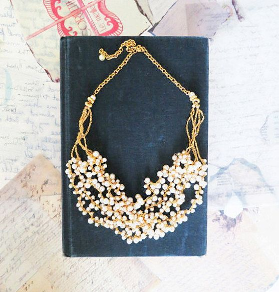 Pearl Necklace - Bridal Chunky Necklace - Gold Vintage Style Pearl Necklace by PearlJewelryNecklace, $95.00