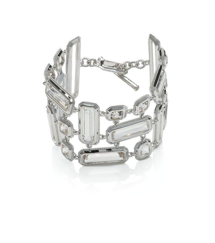 Thomas Laine Sterling Silver Three Row Rock Crystal Braclet