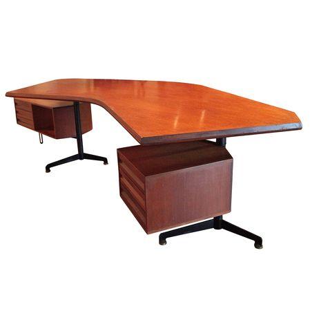 Boomerang T-96 Executive Desk von Osvaldo Borsani für Tecno Milano, 1950er