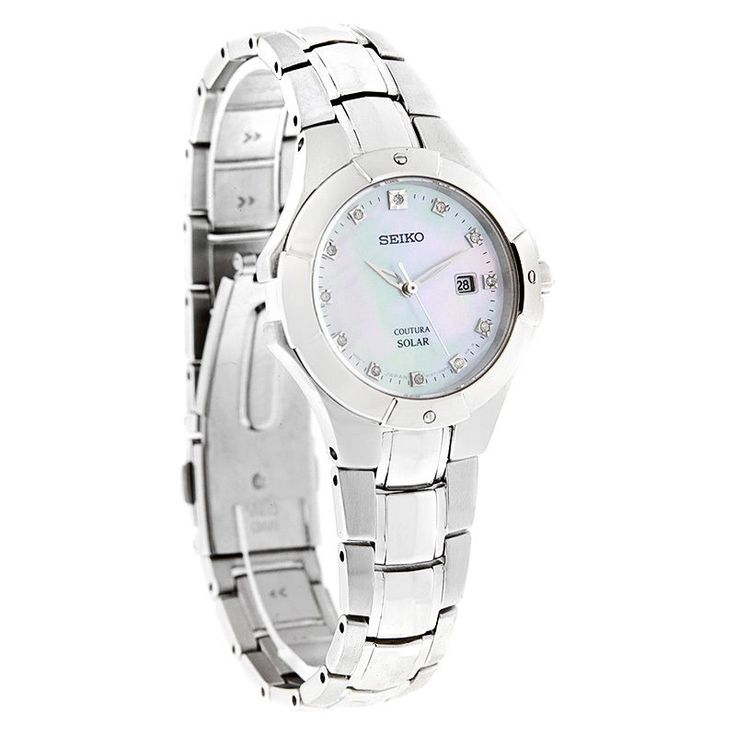 Seiko Coutura Ladies Diamond MOP Stainless Steel Solar Watch SUT125 #Seiko #Dress