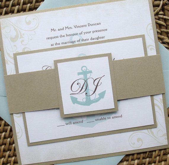 Vintage Nautical Wedding Invitation Set w/ Belly by alamodebride, $4.75