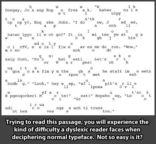 this is a sample of what a Dyslexic child (or adult) sees when trying to read normal typeface.