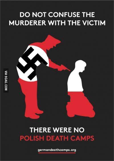 Do not confuse the murderer with the victim! There were NO POLISH DEATH CAMPS!