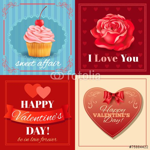 50 Wektor: Valentine's Day cards with heart ,rose and cupcake.Vector