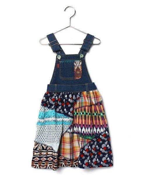 チチカカ キッズ(チチカカキッズ)のパッチデニムサロペットスカート(KIDS) (サロペット/オーバーオール)|ブルー