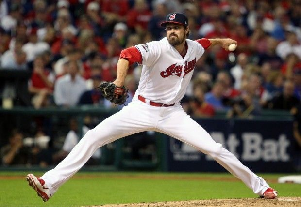 Cleveland Indians pitcher Andrew Miller delivers a pitch in the fifth inning.  October 6, 2016.  Indians won game 1 of ALDS against the Red Sox  5-4 (Tom Ondrey / The Plain Dealer)