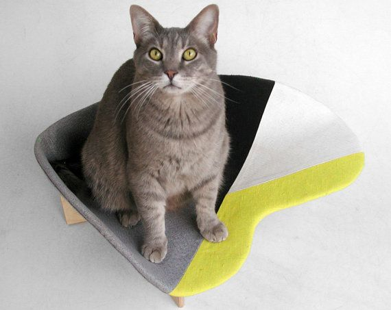 Midcentury pet bed in yellow grey geometric mix by likekittysville
