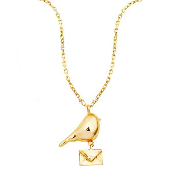 Kuş ve Mektup Figürlü Altın Kolye