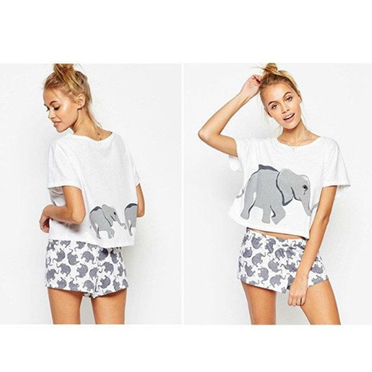 Two Piece Women Funny Elephant Print Shorts + Top Jumpsuit Summer Casual T Shirt