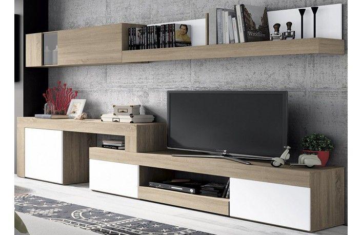Mueble de salón minimalista color cambrian y blanco
