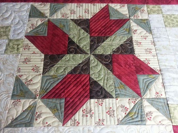 """After 33 hours on the frame, this quilt is done!! It was loads of fun to work on, but all good things must come to an end! This pattern is from Wing and a Prayer Designsand is titled, """"The…"""