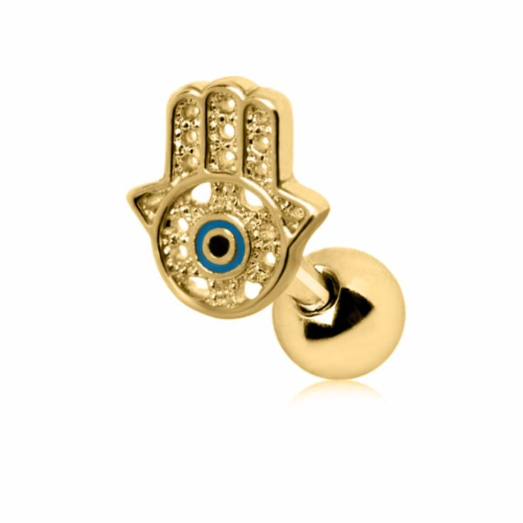 Gold Plated All-Seeing Hamsa Hand Cartilage Earring