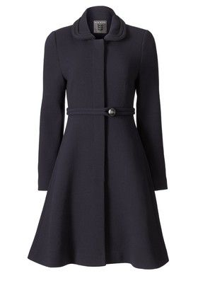 Gray swing coat with belt.  Desperately need this coat dress to appear in my closet.
