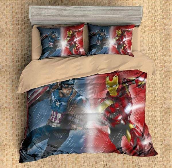 3d Customize Captain America Vs Iron Man Bedding Set Duvet Cover Set Bedroom Set Bedlinen With Images Mens Bedding Sets Bright Bedding Sets Bed