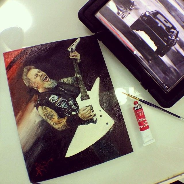 Hey Hey Hey  Here i go now \m/ 🎨🎸⛽️\m/ #Metallica #James #paint in #red #metal…