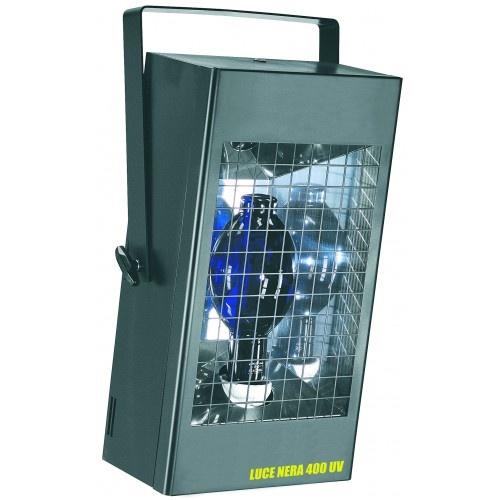 Lampada wood luce nera 400 UV: Potente proiettore UV a luce nera di wood. Il suo largo fascio consente di coinvolgere di luce nera ambienti molto ampi. La lampada, 400W di potenza, viene fornita con l'apparecchio. - Lampada UV 400W attacco E/40  - Emette luce con lunghezza d'onda principalmente nello spettro degli ultravioletti A (tra i 300 e i 400 nm)  - Cavo CEI 20/22 1m fornito con spina shuko Puoi trovare questo e altri prodotti direttamente sul nostro sito: www.lucidiscoteca.it