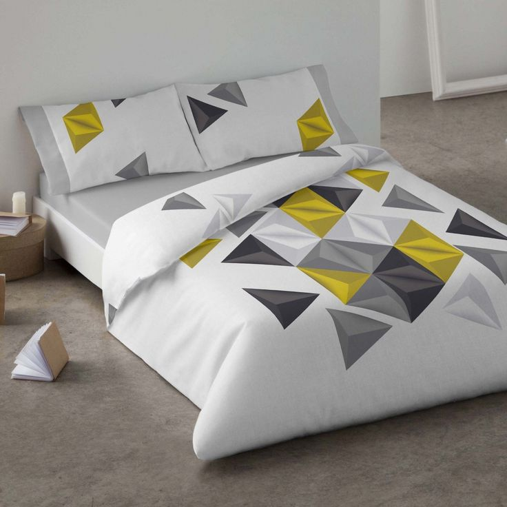 Duvet cover. Geometric. Bedroom. Bed. Yelow Blue. Style.