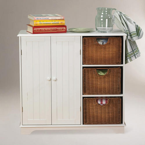 Unique White Cabinet with Baskets