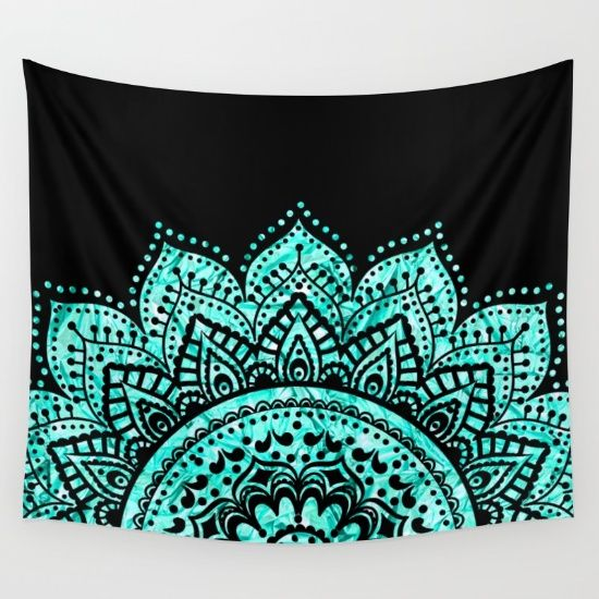 Black+and+Blue+Teal+Mandala+Wall+Tapestry+by+Haroulita+-+$39.00