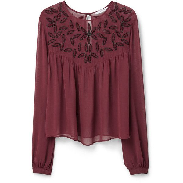 MANGO MANGO Beaded Chiffon Blouse (£55) ❤ liked on Polyvore featuring tops, blouses, chiffon top, red blouse, chiffon blouse, embroidered top and long sleeve red blouse