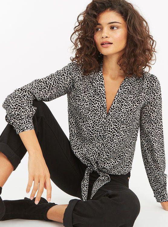 a1c61fc9da7b Oasis, ANIMAL TIE FRONT SHIRT Black and White   Wardrobe   Shirts ...