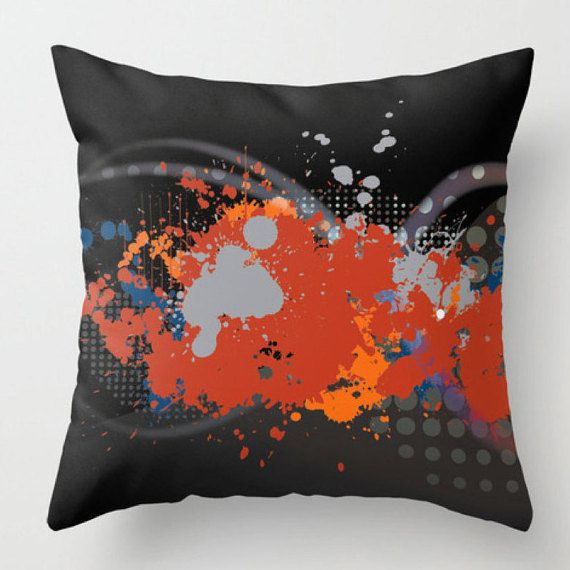 Abstract Throw Pillow Black Red Cushion Throw Pillow Cover
