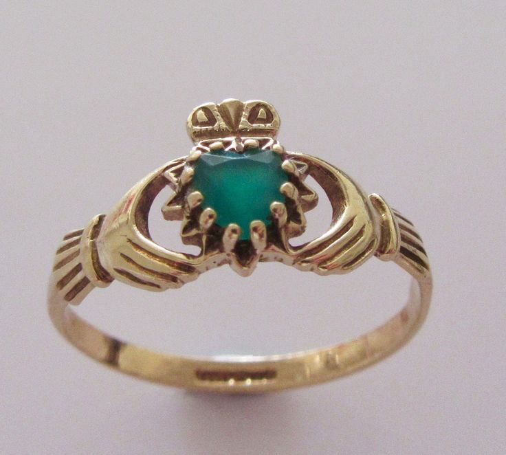 9ct Gold and Emerald Claddagh Ring UK size M USA 6 by Britishgoldandsilver on Etsy
