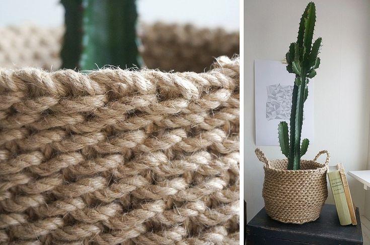 Sarah MacFie blogg - DIY - Virka en korg i jute, crochet basket