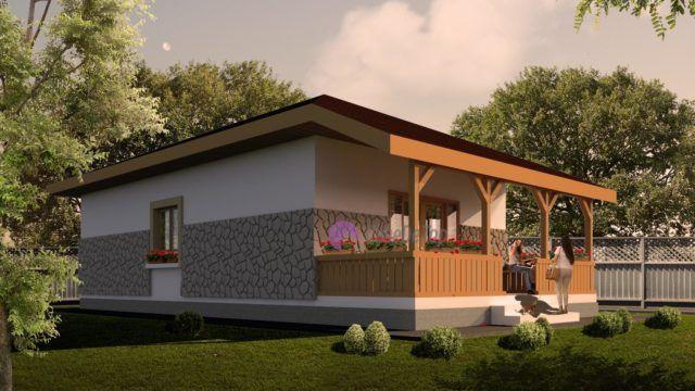 Casa mica organizata pe parter, 55 mp utili- Vedere din gradina| Single-family dwelling- View from the backyard| Etichete: proiect casa, proiecte case, proiecte case mici, proiecte case mici parter, case mici, proiecte case moderne