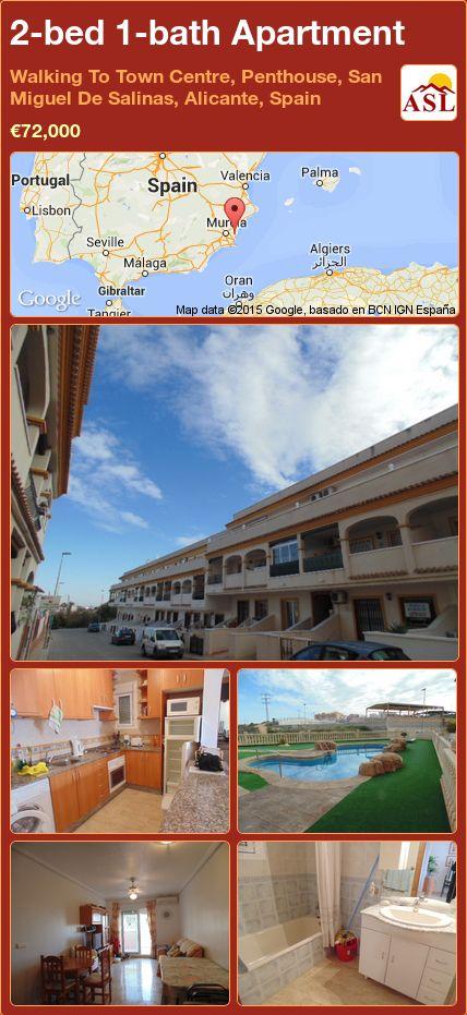 2-bed 1-bath Apartment in Walking To Town Centre, Penthouse, San Miguel De Salinas, Alicante, Spain ►€72,000 #PropertyForSaleInSpain