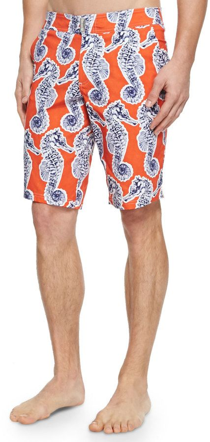 $260, Vilebrequin Meia Seahorse Print Board Shorts Orange. Sold by Neiman Marcus. Click for more info: https://lookastic.com/men/shop_items/260153/redirect